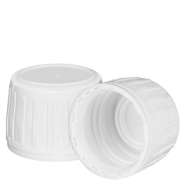Schroefsluiting met garantiesluiting (OV) DIN 28 wit van PP met EPE afdichtplaatje