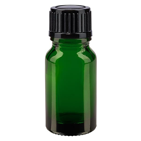 Groenen glazen flessen 10ml met zwart druppelsluiting 1mm St