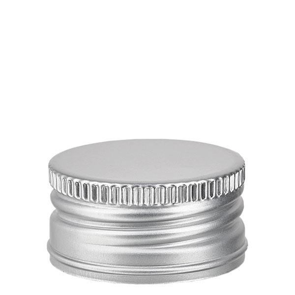 Schroefsluiting 31,5 mm zilver aluminium geribbeld met afgeronde rand en afdichtplaatje