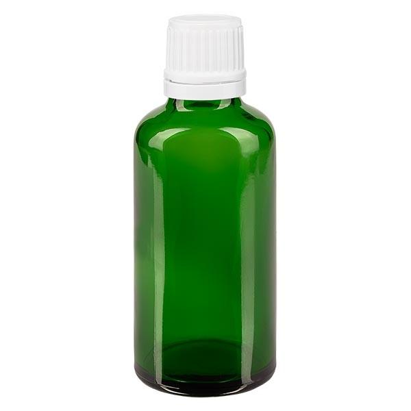 Groenen glazen flessen 50ml met wit druppelsluiting 1.2mm VR