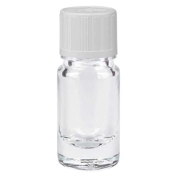 Helder glazen flessen 5ml met wit schroefsluiting kinderslot St