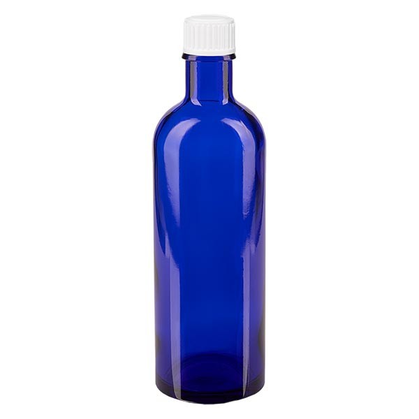 Blauwe glazen flessen 200ml met wit schroefsluiting St