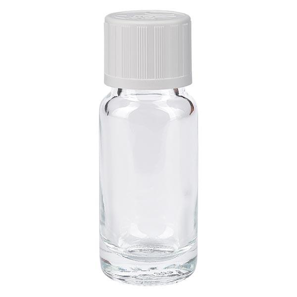 Helder glazen flessen 10ml met wit druppelsluiting kinderslot St