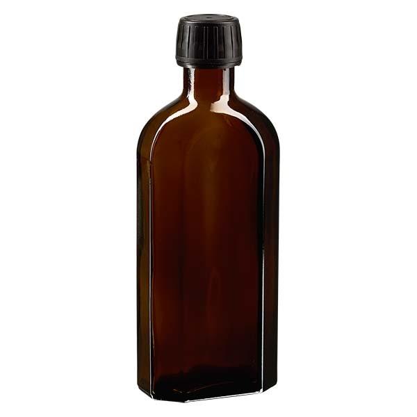 250 ml bruine meplatfles met PP 28 monding, inclusief schroefsluiting DIN 22 zwart van EPE