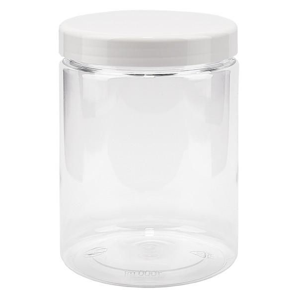 PET pot met schroefdeksel 1000 ml helder incl. wit deksel
