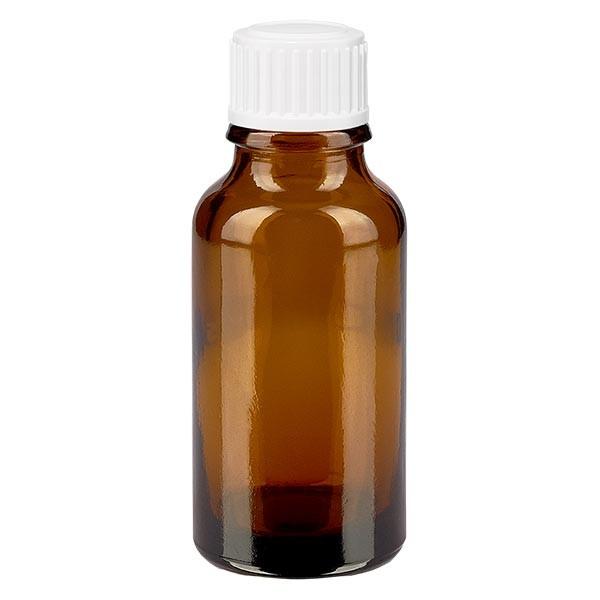 Bruine glazen fles 20ml met wit schroefsluiting globuli uitgietring St