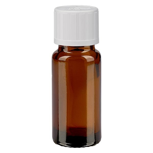 Bruine glazen fles 10ml met wit druppelsluiting kinderslot St