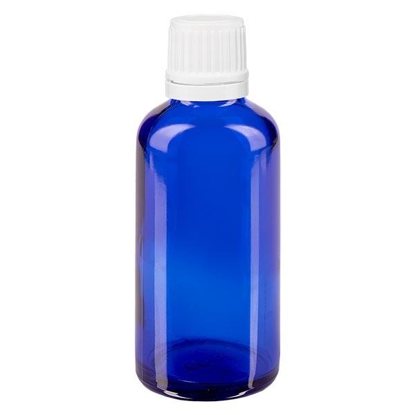 Blauwe glazen flessen 50ml met wit druppelsluiting 1.2mm VR