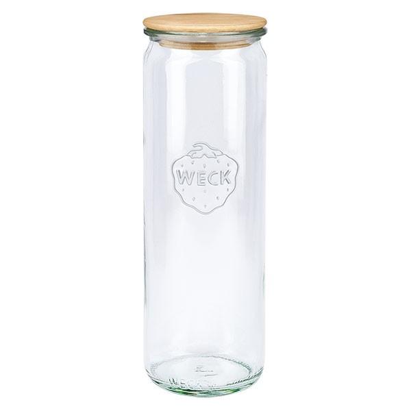 WECK-cilinderglas 600ml met hout deksel