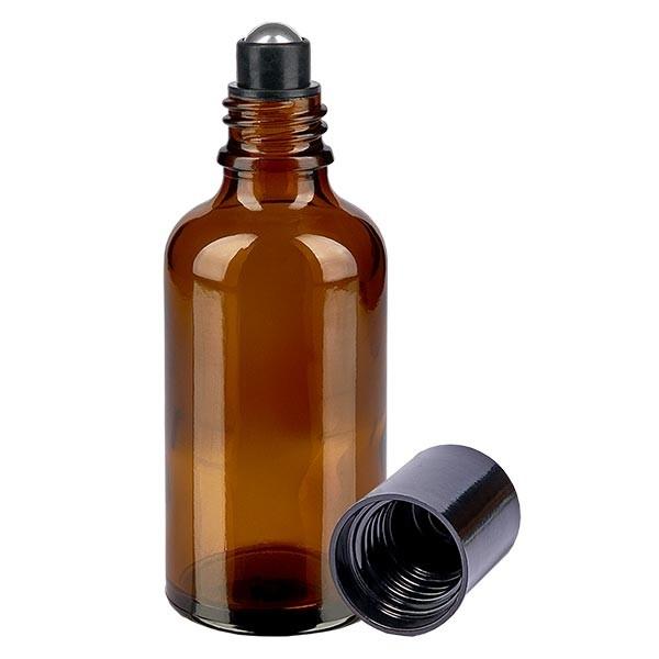 Glas deostick fles bruin 50ml, lege deo roller (Roll On)