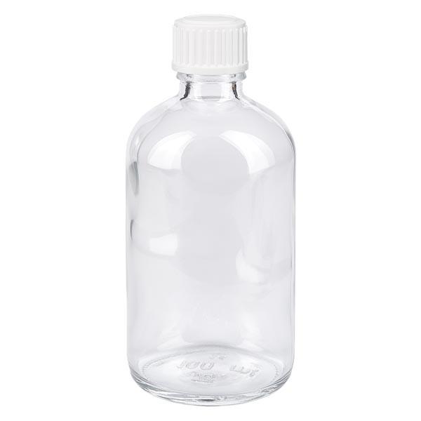 Helder glazen flessen 100ml met wit schroefsluiting St