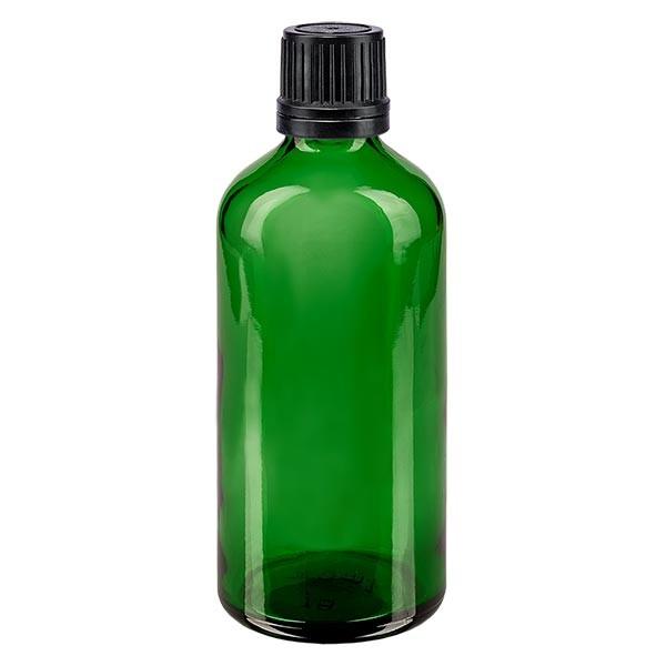 Groenen glazen flessen 100ml met zwart druppelsluiting 1mm VR