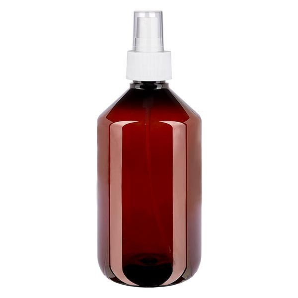 500 ml PET medicijnfles met verstuiver wit GCMI 28/410 incl. dop transparant, standaard