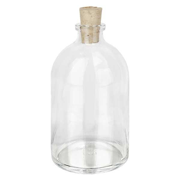 Injectiefles helder glas 100ml met kurk 11/14mm