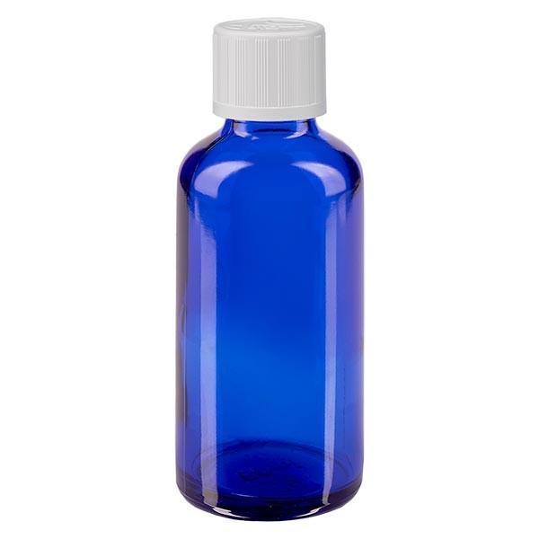 Blauwe glazen flessen 50ml met wit schroefsluiting kinderslot St