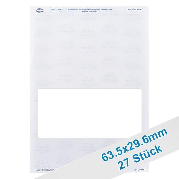 27 etiketten, wit, verwijderbaar 63x30mm