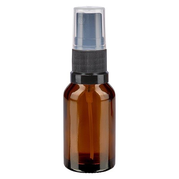 Bruin glazen flessen 15ml met zwart pompverstuiver