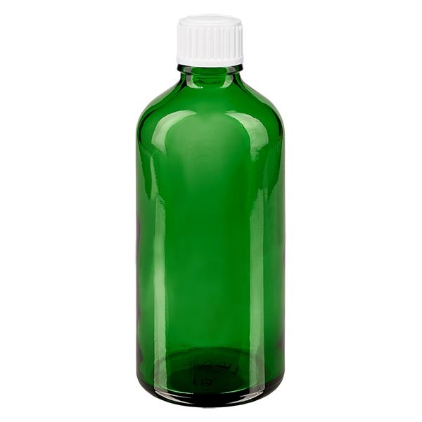 Groenen glazen flessen 100ml met wit druppelsluiting 0.8mm St