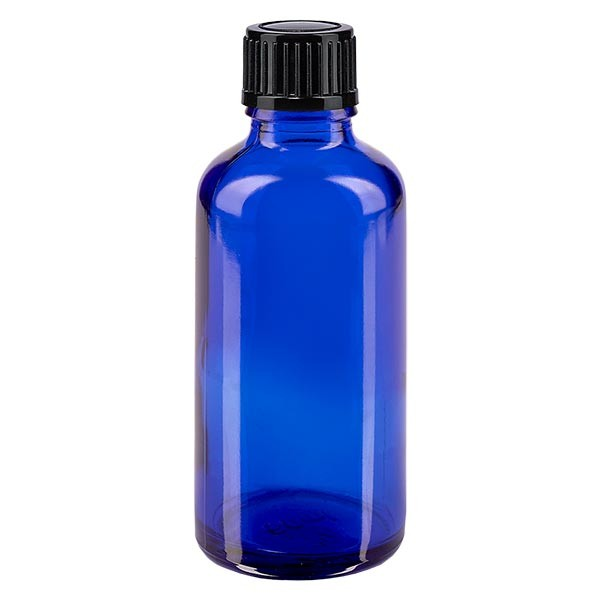 Blauwe glazen flessen 50ml met zwart druppelsluiting 1mm St