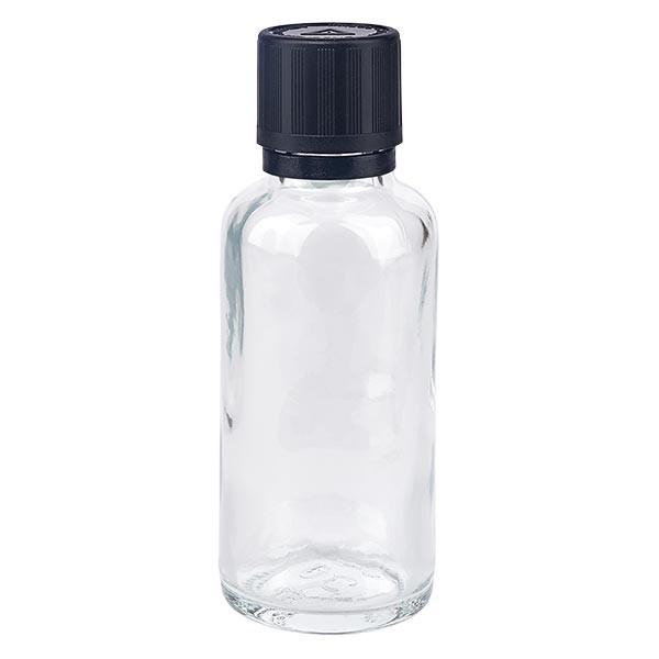 Helder glazen flessen 30ml met zwart druppelsluiting 1mm kinderslot Bliwa VR