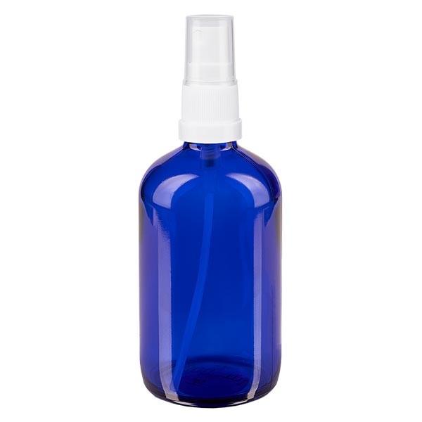 Blauwe glazen flessen 100ml met wit pompverstuiver