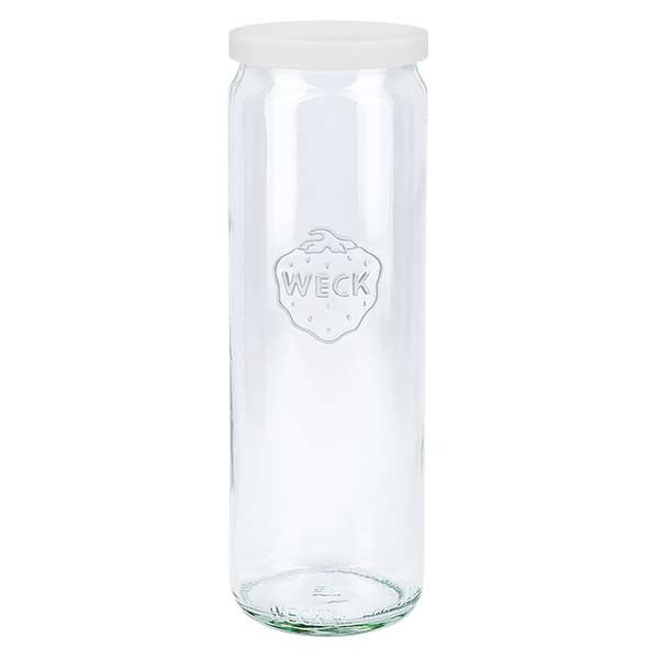 WECK-cilinderglas 600ml met wit siliconenhoes