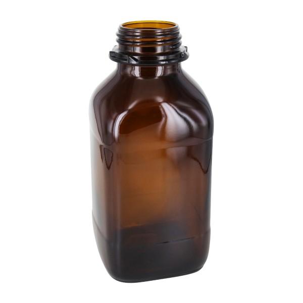 1000 ml vierkante fles met wijde hals bruin glas met krans