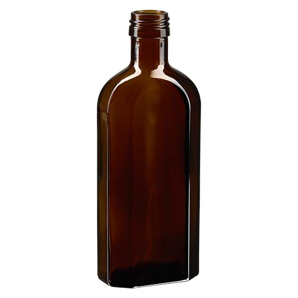 250 ml bruine meplatfles met PP 28 monding