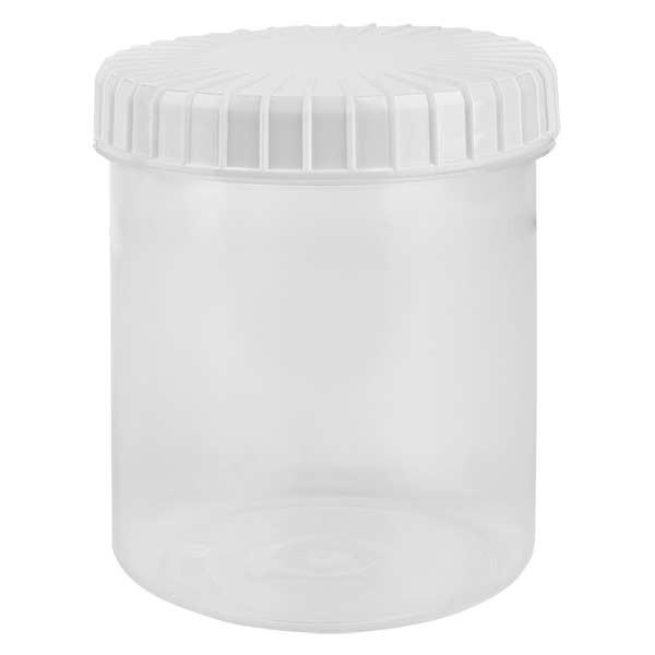 Kunststof pot 180ml transparant met geribbeld wit schroefdeksel van PE, type sluiting standaard