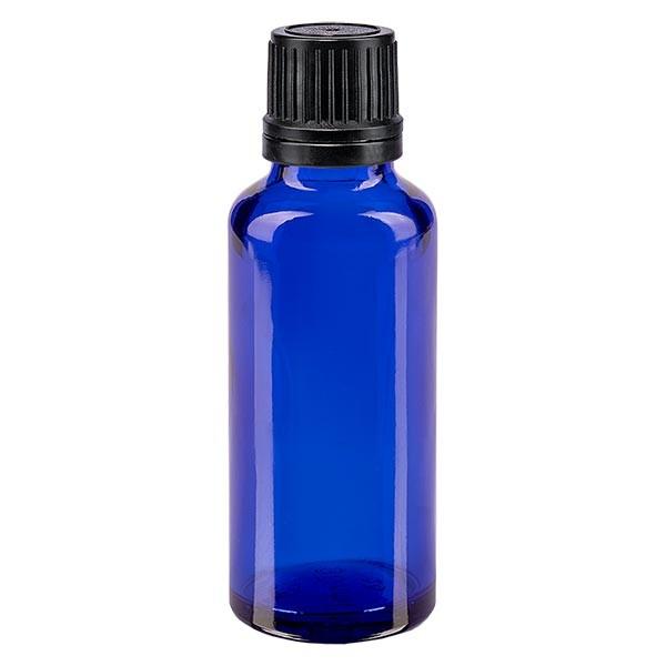 Blauwe glazen flessen 30ml met zwart schroefsluiting uitgietring VR
