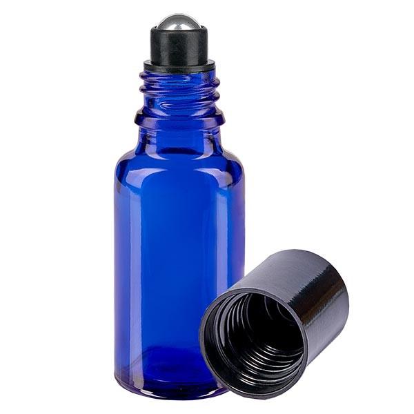 Glas deostick fles blauw 20ml, lege deo roller (Roll On)
