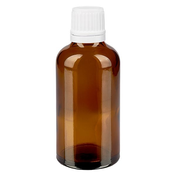 Bruine glazen fles 50ml met wit schroefsluiting VR