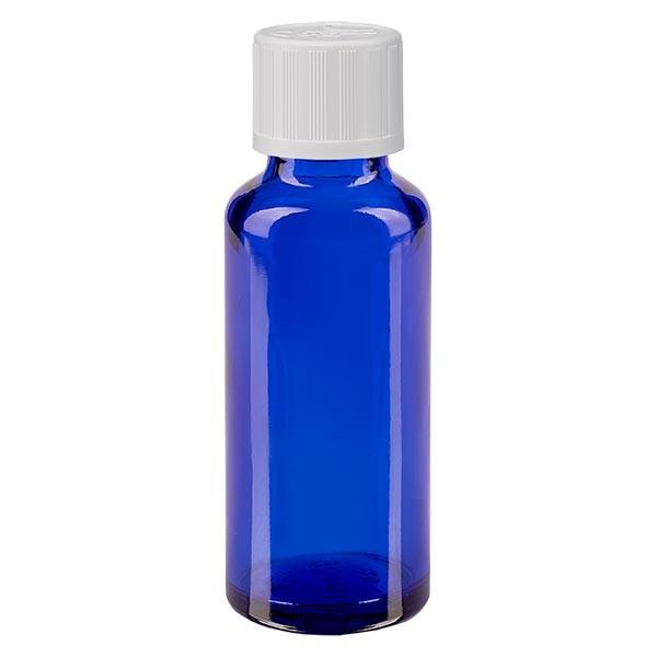 Blauwe glazen flessen 30ml met wit schroefsluiting kinderslot St