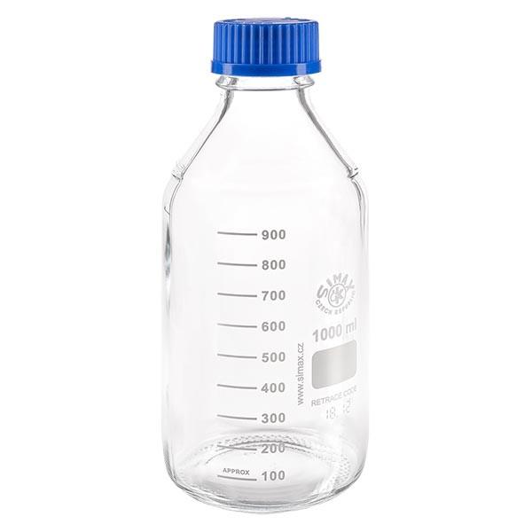 1000 ml laboratoriumfles met schroefdraad + blauwe dop + ring