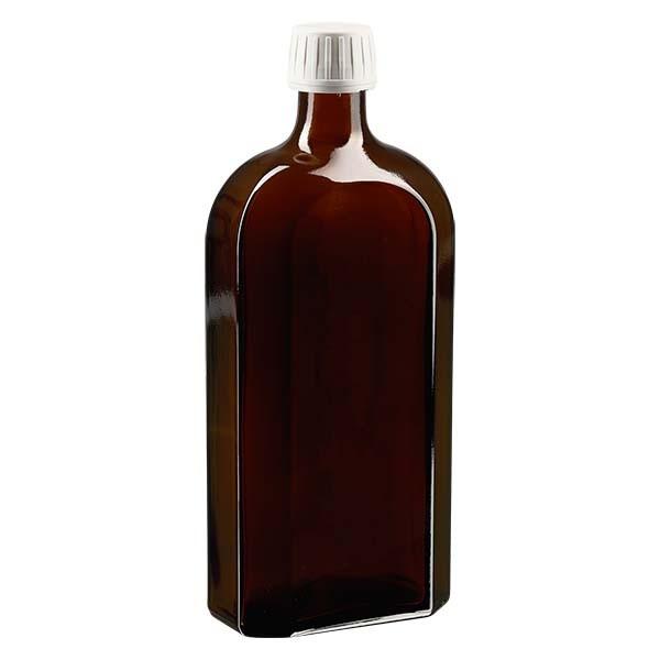 500 ml bruine meplatfles met PP 28 monding, inclusief schroefsluiting DIN 22 witt van EPE