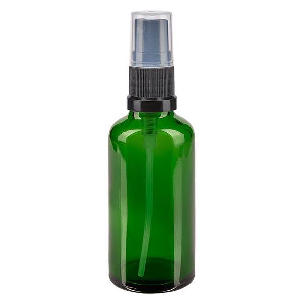 Groenen glazen flessen 50ml met zwart pompverstuiver