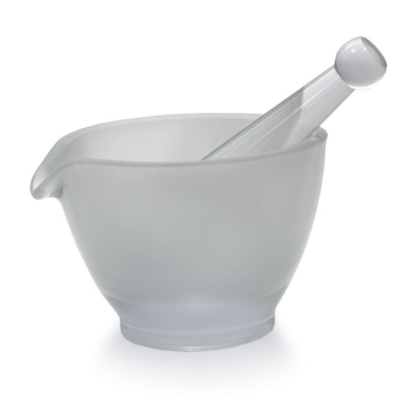 Mörser Ø 120mm mit Stößel (Pistill) und Ausguss aus hitzefestem Borosilikatglas (raue Oberfläche)
