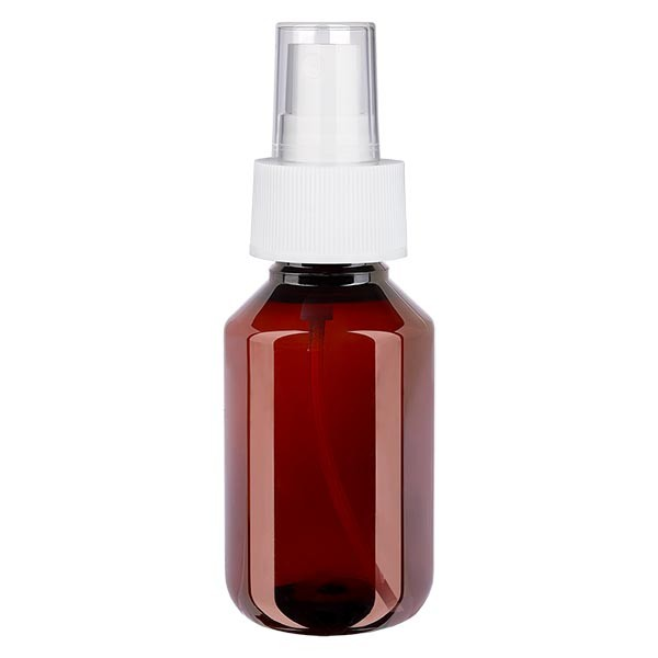 100 ml PET medicijnfles met verstuiver wit GCMI 28/410 incl. dop transparant, standaard