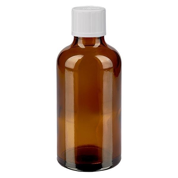 Bruine glazen fles 50ml met wit schroefsluiting kinderslot St