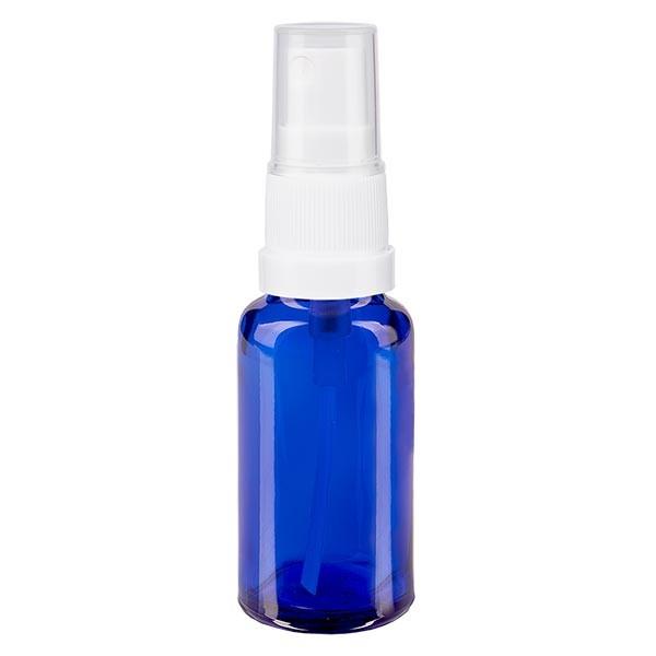 Blauwe glazen flessen 20ml met wit pompverstuiver