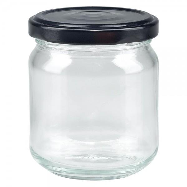 UNITWIST glazen potten 212ml ronderand glas met zwart Twist-Off deksel TO63