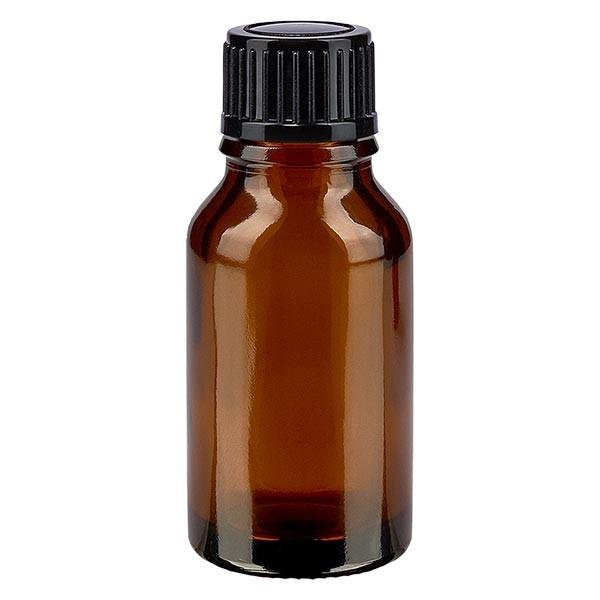 Bruine glazen fles 30ml met zwart druppelsluiting 1mm St
