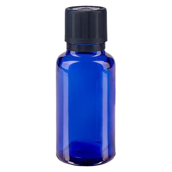 Blauwe glazen flessen 20ml met zwart druppelsluiting 1mm kinderslot Bliw VR