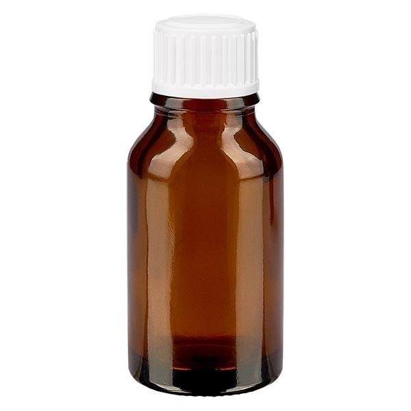 Bruine glazen fles 30ml met wit druppelsluiting 0.8mm St