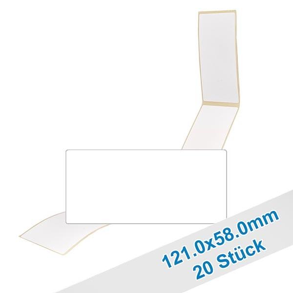 20 etiketten, wit, verwijderbaar 58x121mm