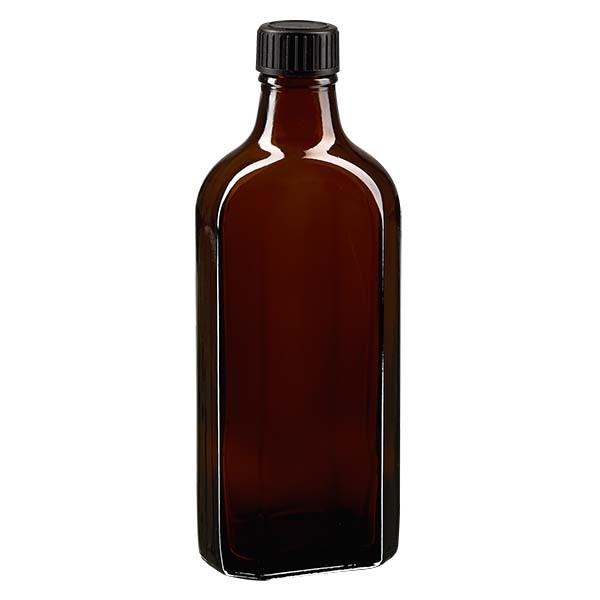 200 ml bruine meplatfles met DIN 22 monding, inclusief schroefsluiting DIN 22 zwart van EPE