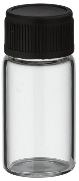 Minifles 3 ml helder met zwarte schroefsluiting incl. afdichting