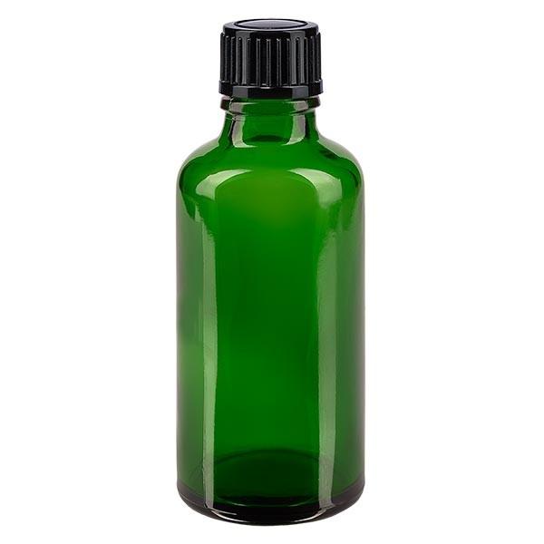 Groenen glazen flessen 50ml met zwart schroefsluiting St