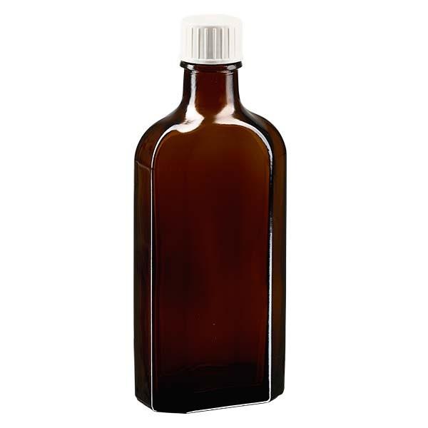 150 ml bruine meplatfles met DIN 22 monding, inclusief schroefsluiting DIN 22 wit met gietring