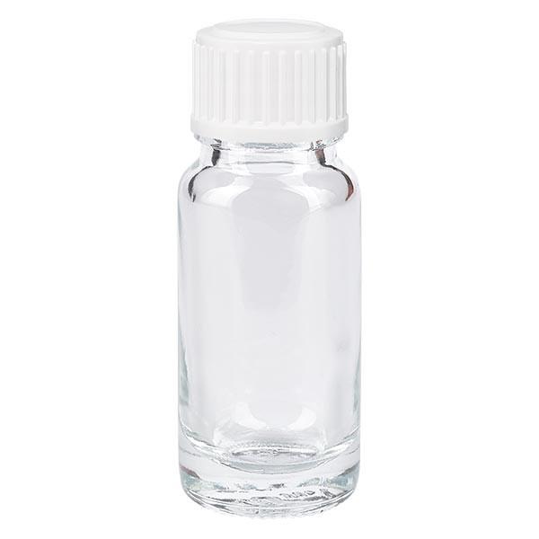 Helder glazen flessen 10ml met wit druppelsluiting 0.8mm St